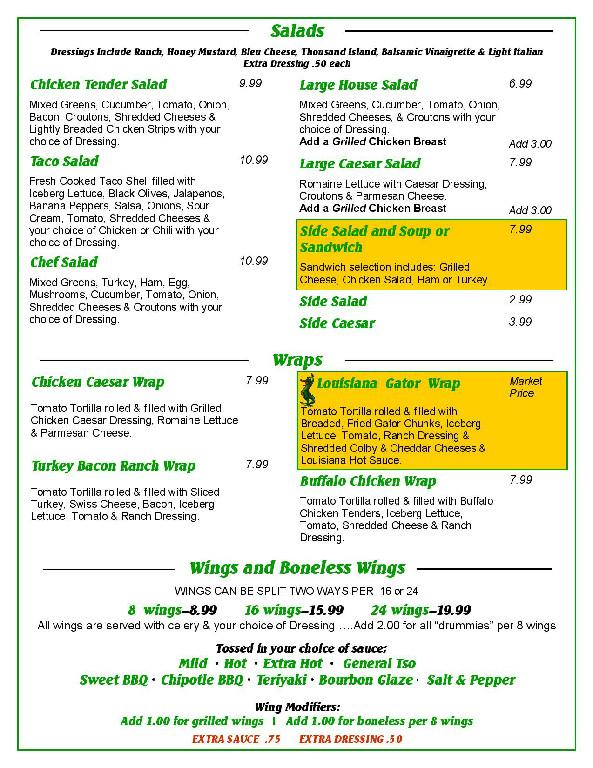 page 4 menu tailgators sports grill locust nc