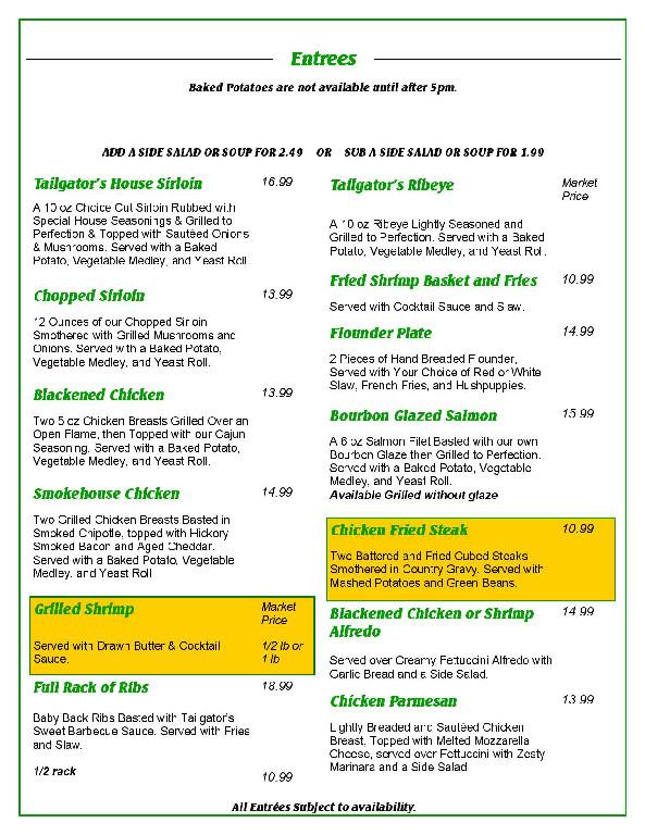 page 3 menu tailgators sports grill locust nc