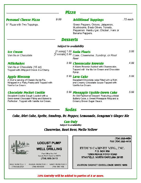 menu tailgators sports grill locust nc page 2
