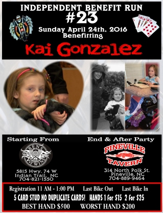independent benefit run kai gonzales tailgators sports grill locust nc