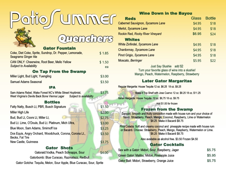summer menu tailgators drinks